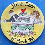 Handpainted Personalised Wedding Plate - Wedding Cake Couple