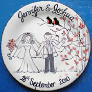 Handpainted Personalised Wedding Plate - Wedding Lovebirds