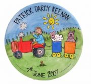 Handpainted Personalised Plate - Farm Boy with Tractor and Animals