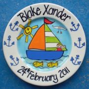 Handpainted Personalised Plate - Boy in Yacht