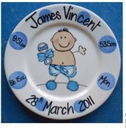 Handpainted Personalised New Baby Boy Plate - Dotty Baby Boy