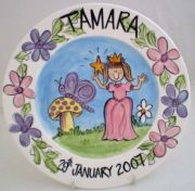 Handpainted Personalised Plate - Princess in the Garden