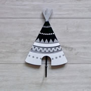 Coat Hook for kids room or nursery - Black and white teepee