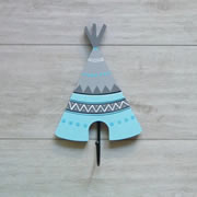 Coat Hook for kids room or nursery - Ice blue and grey teepee