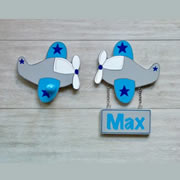 Coat Hook for kids room or nursery - Plane name sign with matching wall hook