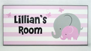 Personalised Name Plaque for kids wall or door  Elephant Girl
