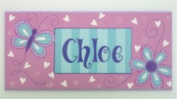 Personalised Name Plaque for kids wall or door Butterfly Love
