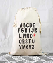 Personalised Kids Drawstring Toy Storage Sack - Alphabet Kids
