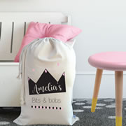 Personalised Kids Drawstring Toy Storage Sack - Diamond Crown