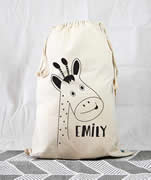 Personalised Kids Drawstring Toy Storage Sack - Giraffe