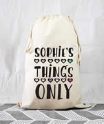 Personalised Kids Drawstring Toy Storage Sack - Girls Things Only