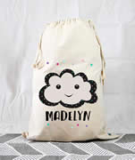 Personalised Kids Drawstring Toy Storage Sack - Happy Cloud Girls