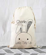 Personalised Kids Drawstring Toy Storage Sack - Lets Tidy Up
