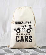 Personalised Kids Drawstring Toy Storage Sack - Racing Car