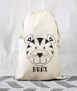 Personalised Kids Drawstring Toy Storage Sack - Tiger