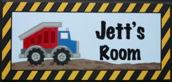 Personalised Name Plaque for kids wall or door Construction / Truck