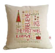 Personalised Linen Cushion Cover for Grown Ups - Christmas Collage