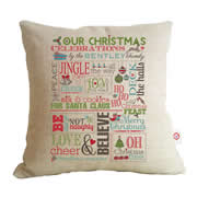 Personalised Linen Cushion Cover for Grown Ups - Family Christmas Chart