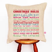 Personalised Linen Cushion Cover for Grown Ups - Family Christmas Rules