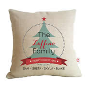 Personalised Linen Cushion Cover for Grown Ups - Family Christmas Tree