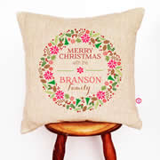 Personalised Linen Cushion Cover for Grown Ups - Merry Christmas Wreath