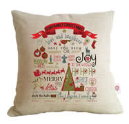 Personalised Linen Cushion Cover for Grown Ups - Our Family Christmas