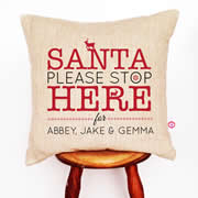 Personalised Linen Cushion Cover for Grown Ups - Santa Please Stop Here