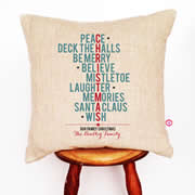 Personalised Linen Cushion Cover for Grown Ups - Typographic Christmas
