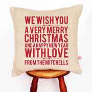 Personalised Linen Cushion Cover for Grown Ups - We Wish You Christmas