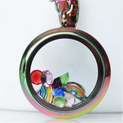 Floating Memory Locket Readymade - Crazy About Rainbows Theme