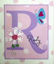 Personalised Kids Name Canvas Wall Art Canvas Name Plaque Handpainted Butterfly Initial