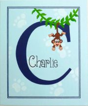 Personalised Kids Name Canvas Wall Art Canvas Name Plaque Handpainted Monkey