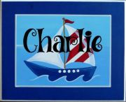 Personalised Name Plaque for kids wall or door Sail Boat - Blue