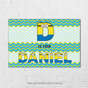 Minions Personalised name plaque canvas for kids wall art - Rectangular with Background - Boys