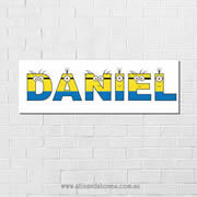 .Minions Personalised name plaque canvas for kids boys wall art - Long Rectangular White Background