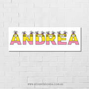 .Minions Personalised name plaque canvas for kids girls wall art - Long Rectangular White Background