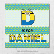 Minions Personalised Name Plaque canvas for kids wall art - Square with background - Boys