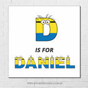 Minions Personalised Name Plaque canvas for kids wall art - Square white background - Boys