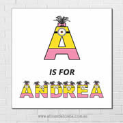 Minions Personalised Name Plaque canvas for kids wall art - Square white background - Girls