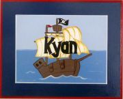 Personalised Name Plaque for kids wall or door Pirate Ship