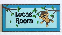 Personalised Name Plaque for kids wall or door Monkey