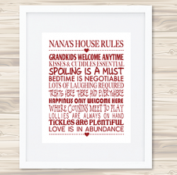Personalised Wall Art Print - Mother's Day Print - Nanna's House Rules