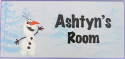 Personalised Name Plaque for kids wall or door Olaf Frozen