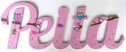 Scripted Name Plaque Wooden Letters for LARGE Fonts WITH A THEMED PAINTED PATTERN Starting from 3+ letters Themed Hoot a Belle Land