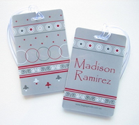 Personalised Bag Tags Brown and Red Geo - Bag Tag