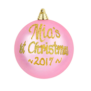 .Bauble Christmas Gold Personalised in Gift Tin BABYS FIRST CHRISTMAS - Choose your colour