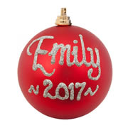 .Bauble Christmas Silver Personalised in Gift Tin CHILD / ADULT NAME - Choose your colour