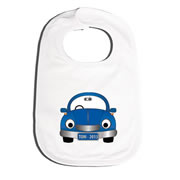 Bib Personalised for Baby - Blue Car