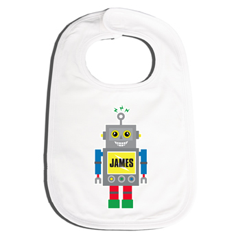 Bib Personalised for Baby - Blue Robot