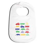 Bib Personalised for Baby - Car Bike Wagon